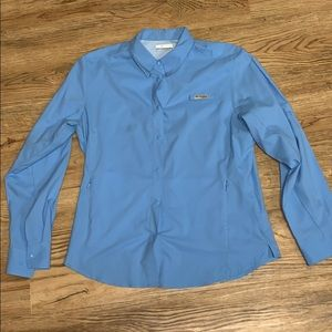 Columbia PFG Omni-Shade Blue Top Size Large